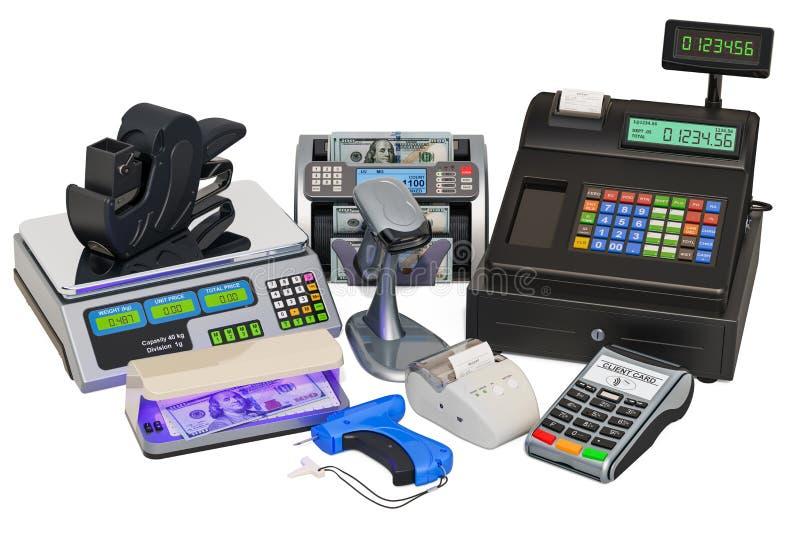 Оборудование POS Кассовый аппарат, принтер получения, читатель штрихкода, POS-терминал, деньги считая машину, оружие ярлыка цены, иллюстрация вектора