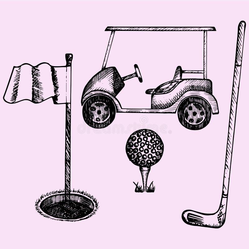 Оборудование гольфа иллюстрация штока