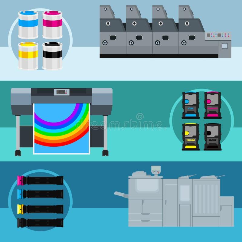 Оборудование печати иллюстрация вектора