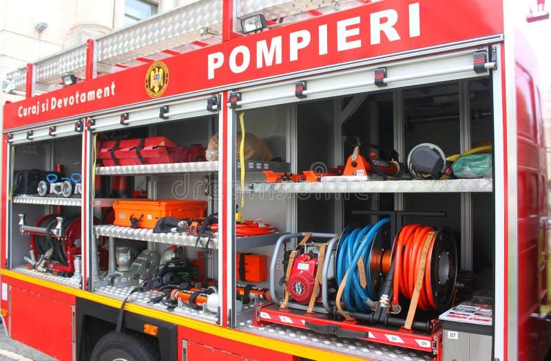 Оборудование пожарной машины стоковые изображения rf