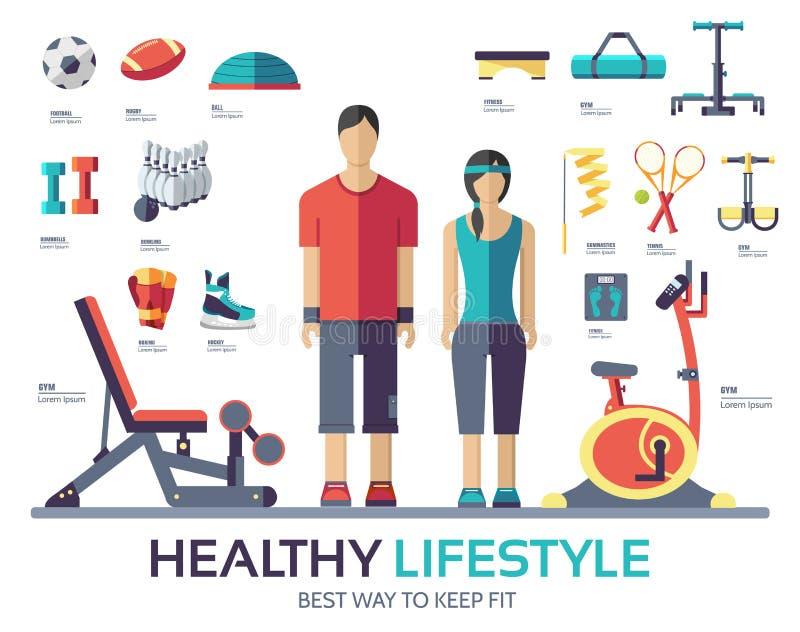 Оборудование прибора уклада жизни спорта infographic Концепция значка фитнеса бесплатная иллюстрация
