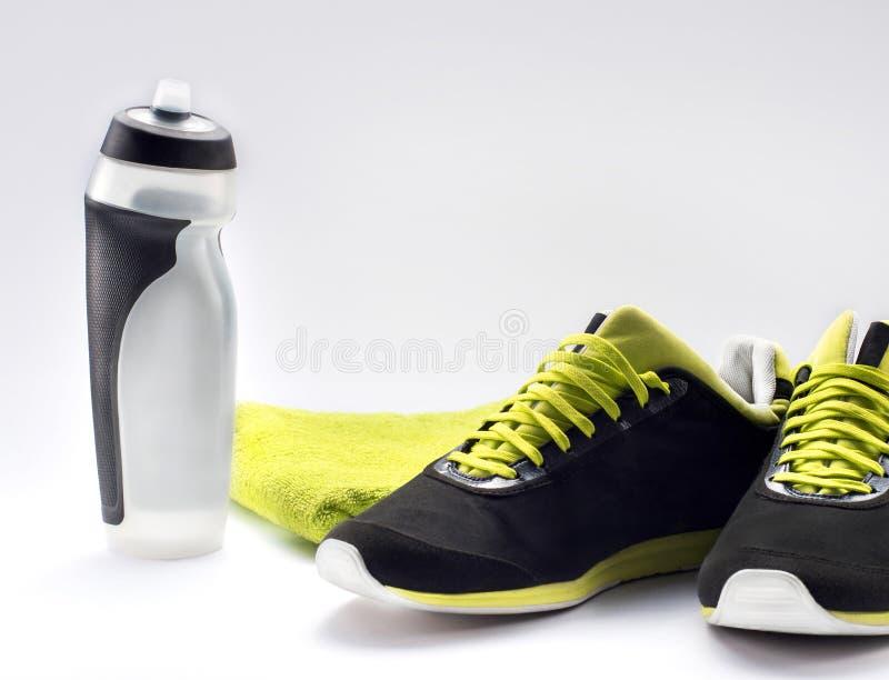 Оборудование фитнеса и здоровое питание стоковое изображение