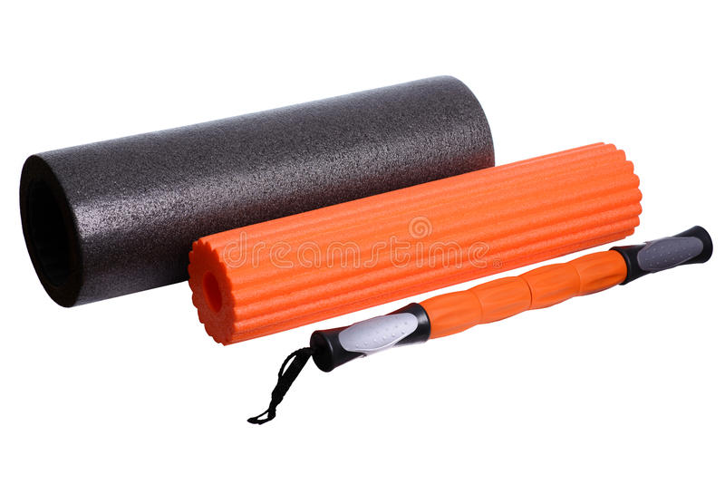 Оборудование фитнеса спортзала ролика пены изолированное на белой предпосылке f стоковые изображения rf