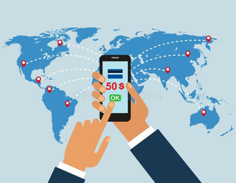 Обрабатывает сделки концепция денежных переводов по всему миру также вектор иллюстрации притяжки corel рука человека с wh мобильн бесплатная иллюстрация