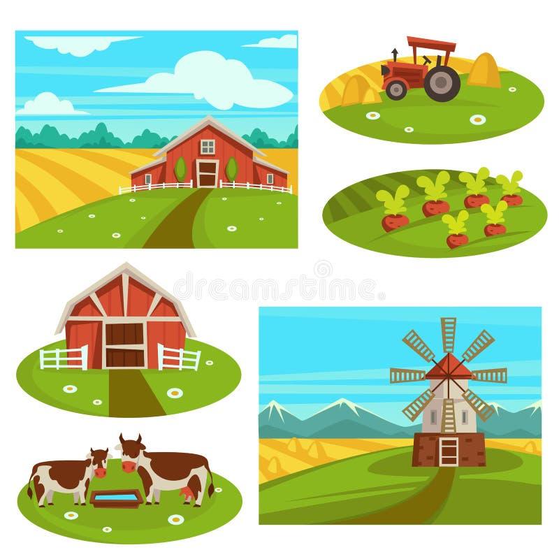 Обрабатывайте землю домочадец или поле и скотины сельского хозяйства вектора земледелия фермера плоские pasture бесплатная иллюстрация