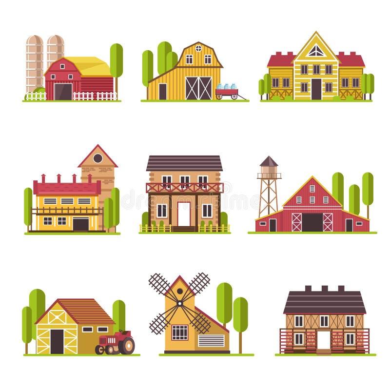 Обрабатывайте землю дом с зерном и fodder установленные значки шаржа вектора амбара или загона скотин плоские иллюстрация штока