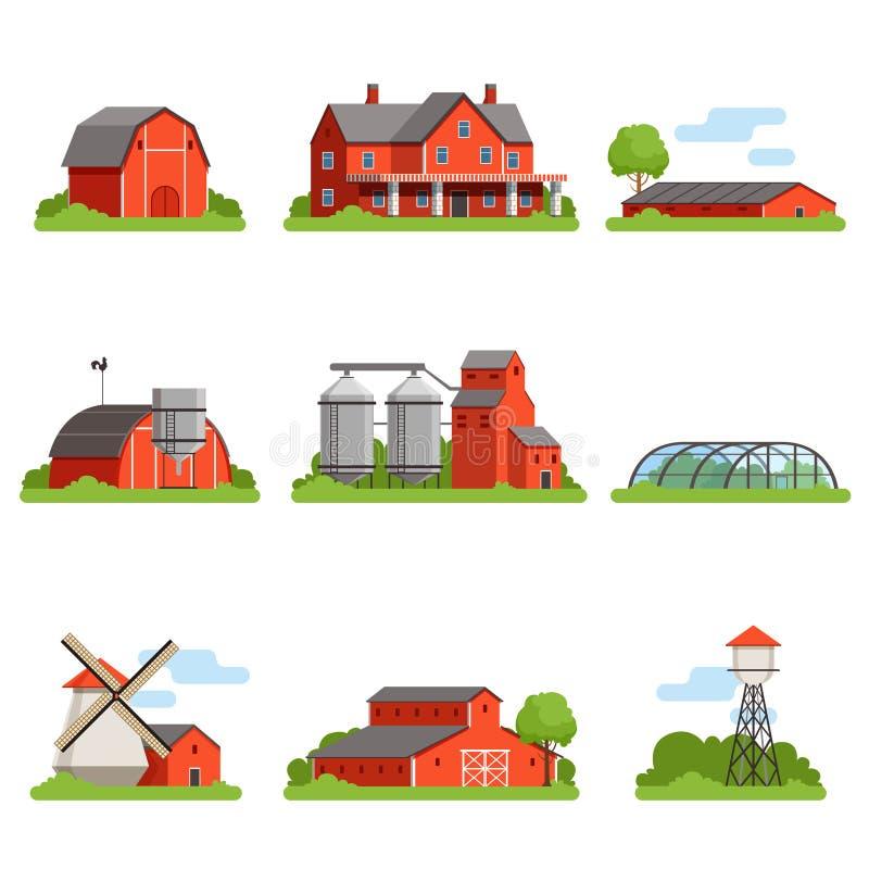 Обрабатывайте землю установленные дом и конструкции, индустрия земледелия и иллюстрации вектора зданий сельской местности иллюстрация вектора