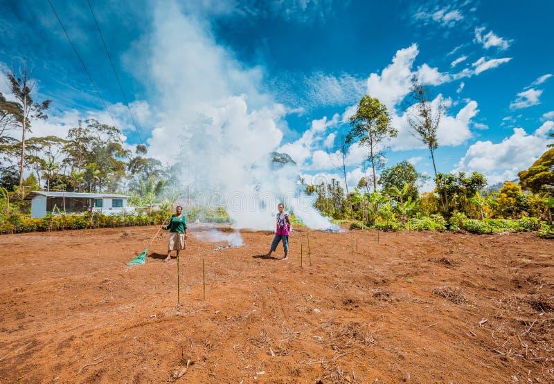 Обрабатывать землю в Папуаой-Нов Гвинее стоковая фотография