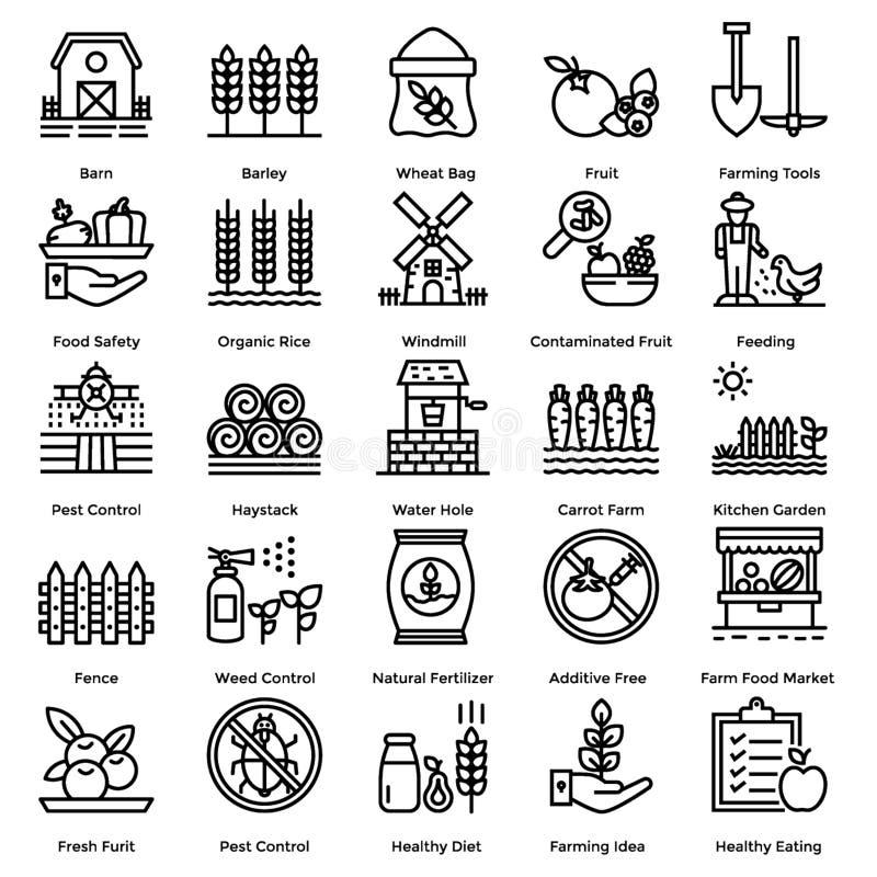 Обрабатывающ землю линия набор значков стоковые изображения rf