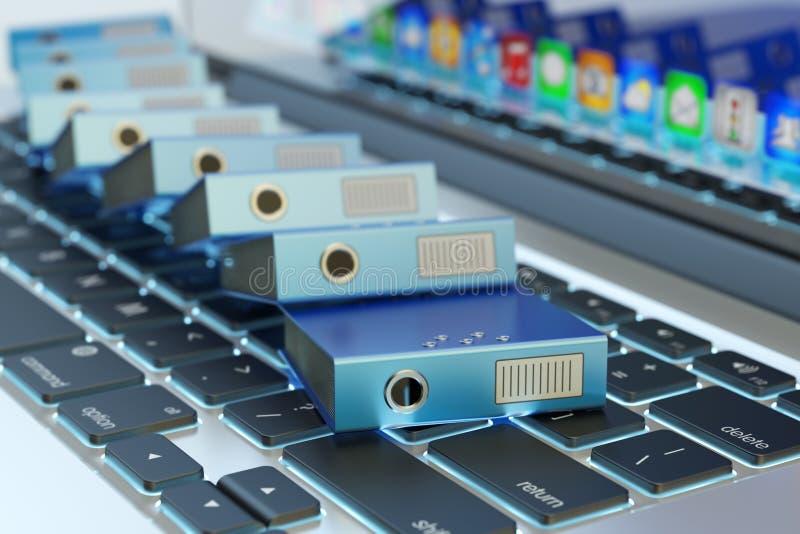 Обработка документов офиса, хранение данных компьютера, каталог документации архива и электронная концепция управления документоо иллюстрация штока