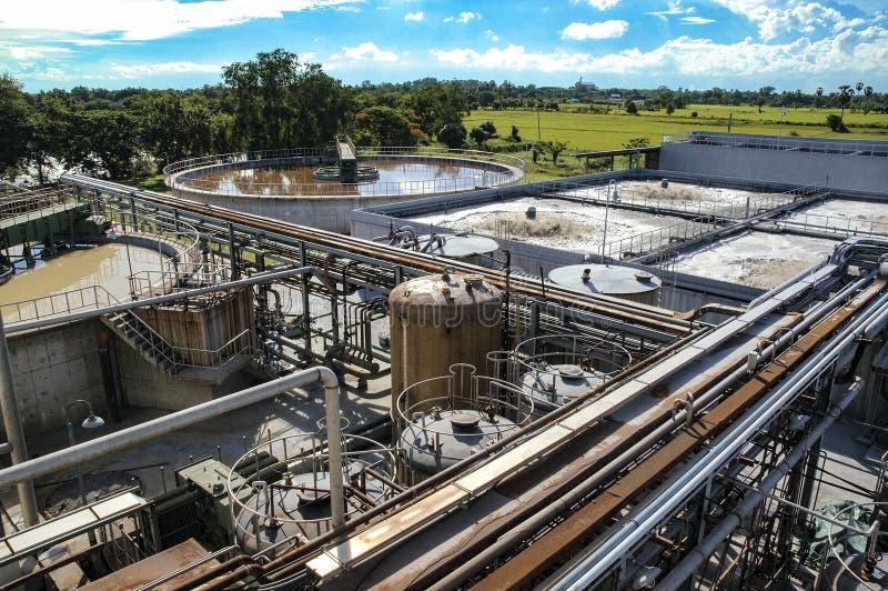Обработка сточных водов, завод очищения для фабрики стоковая фотография rf