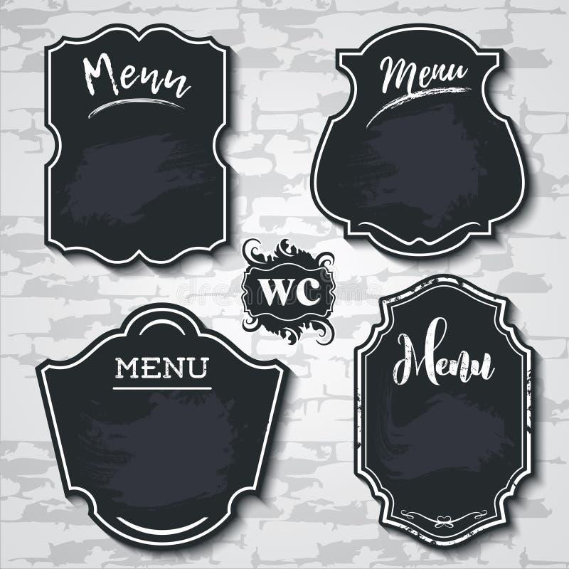 Образец вектора меню доски элементов установленного дизайна обозначает shapes_ стоковые изображения