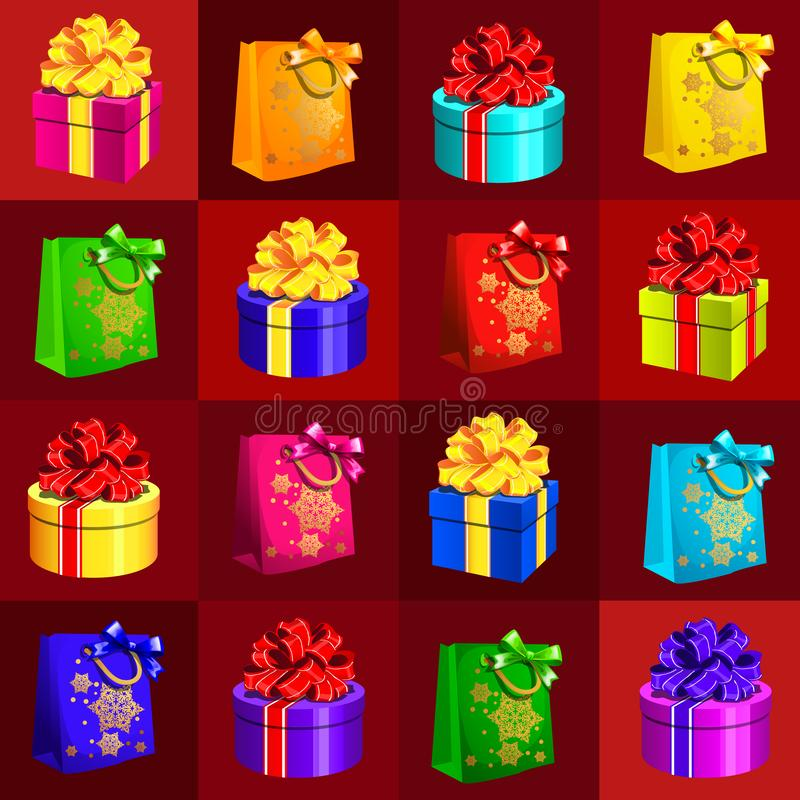 Образец дизайна плаката с атрибутами Нового Года и рождества Эскиз плаката, приглашения партии и другого иллюстрация вектора