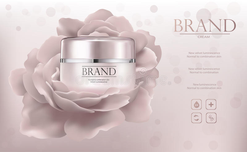 Образец объявлений Promo с опарником и цветком creme стоковые изображения rf