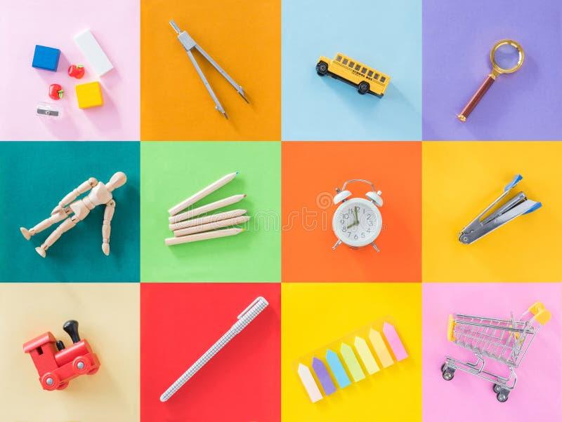 Образование, задняя часть для того чтобы обучить концепцию с красочной предпосылкой стоковая фотография rf