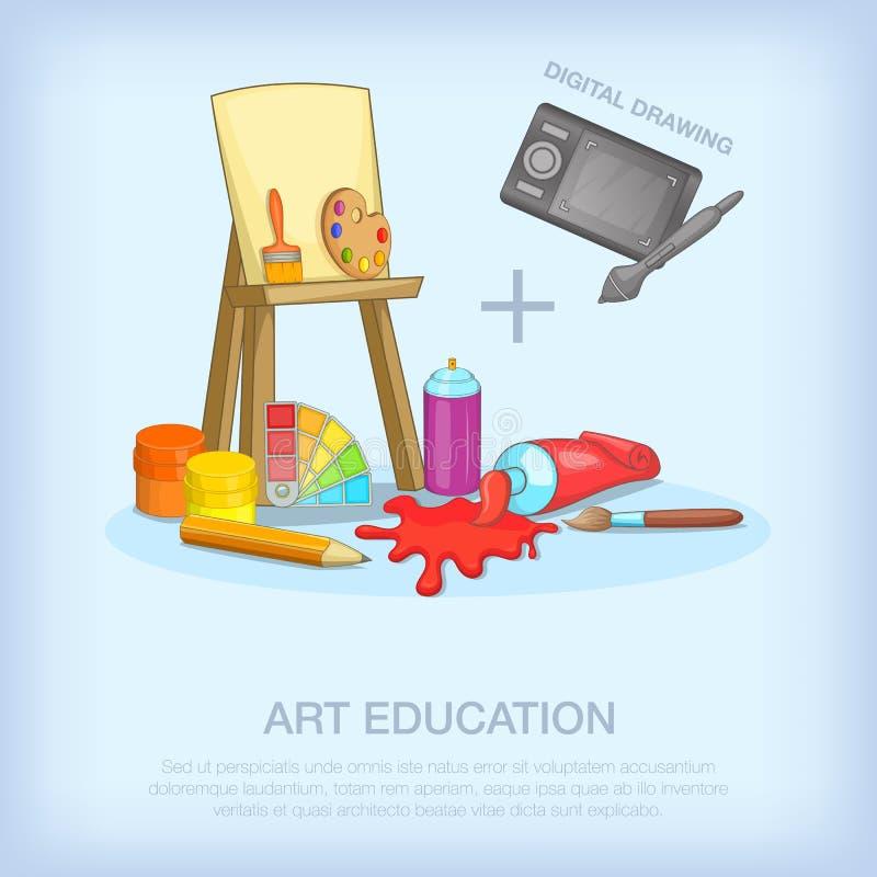 Образование искусства оборудует концепцию, стиль шаржа иллюстрация штока