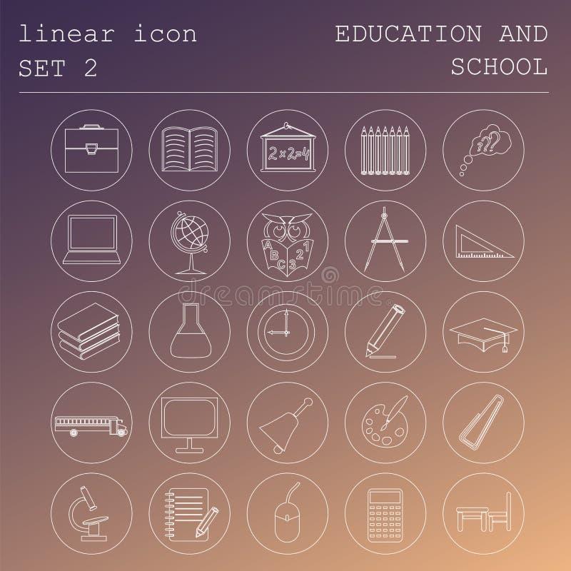 Образование и школа значка плана установленное Плоский линейный дизайн иллюстрация штока