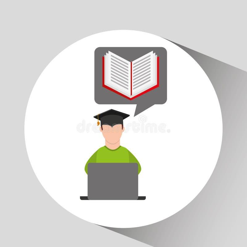 Образование обучения по Интернетуу градации характера онлайн иллюстрация вектора