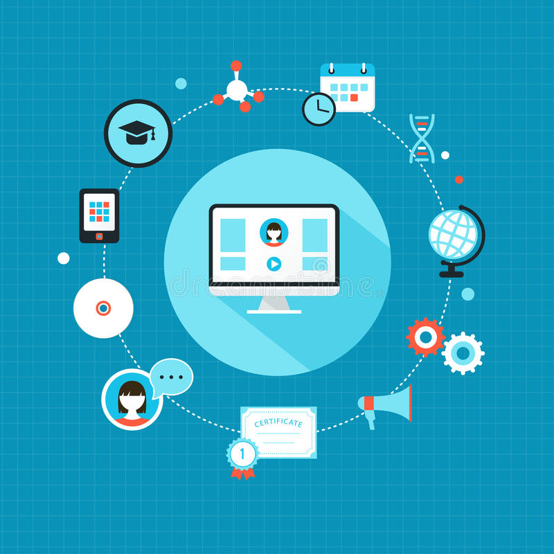 Образование онлайн и курсы подготовки Дизайн Infographic плоский иллюстрация штока
