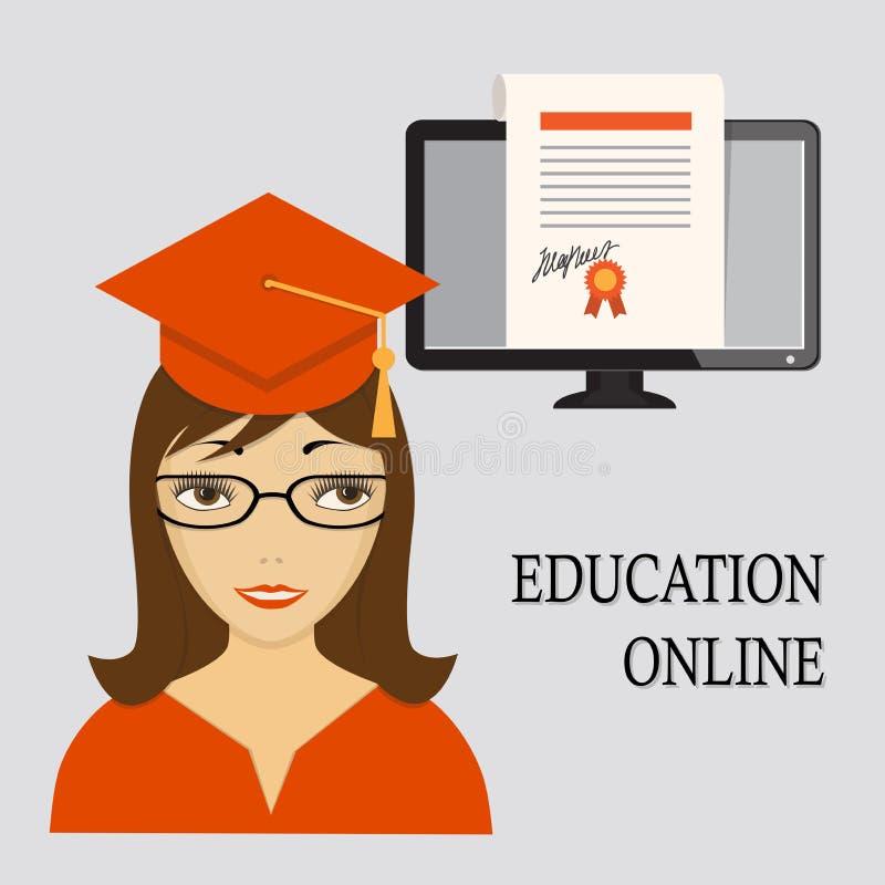 Образование онлайн с девушкой в красном цвете и дипломом в scre компьютера иллюстрация вектора