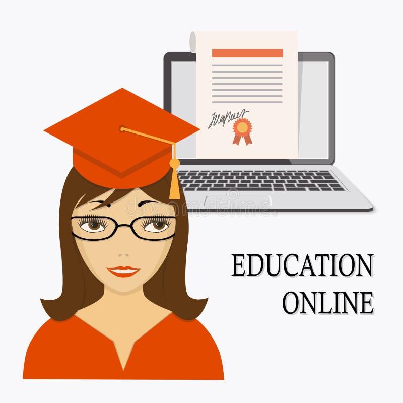 Образование онлайн с девушкой, компьтер-книжкой и дипломом иллюстрация вектора