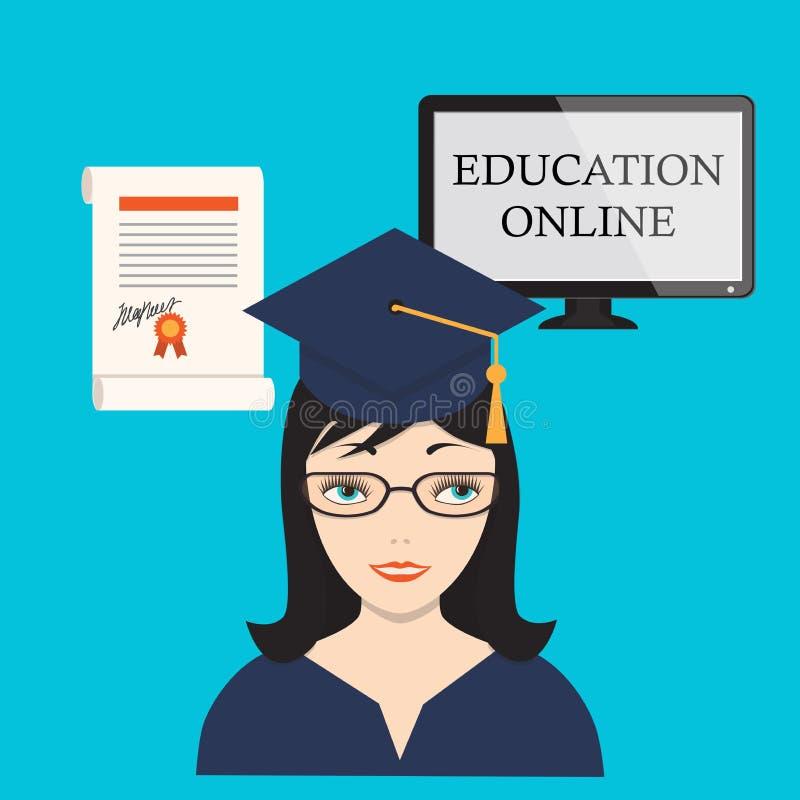 Образование онлайн с девушкой, экраном компьютера и дипломом иллюстрация штока