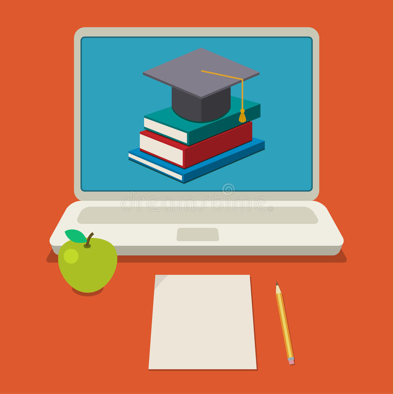 образование он-лайн иллюстрация вектора