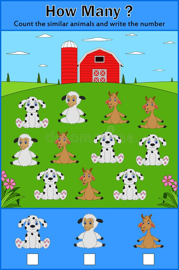 Образование подсчитывая игру животных для детей дошкольного возраста иллюстрация вектора