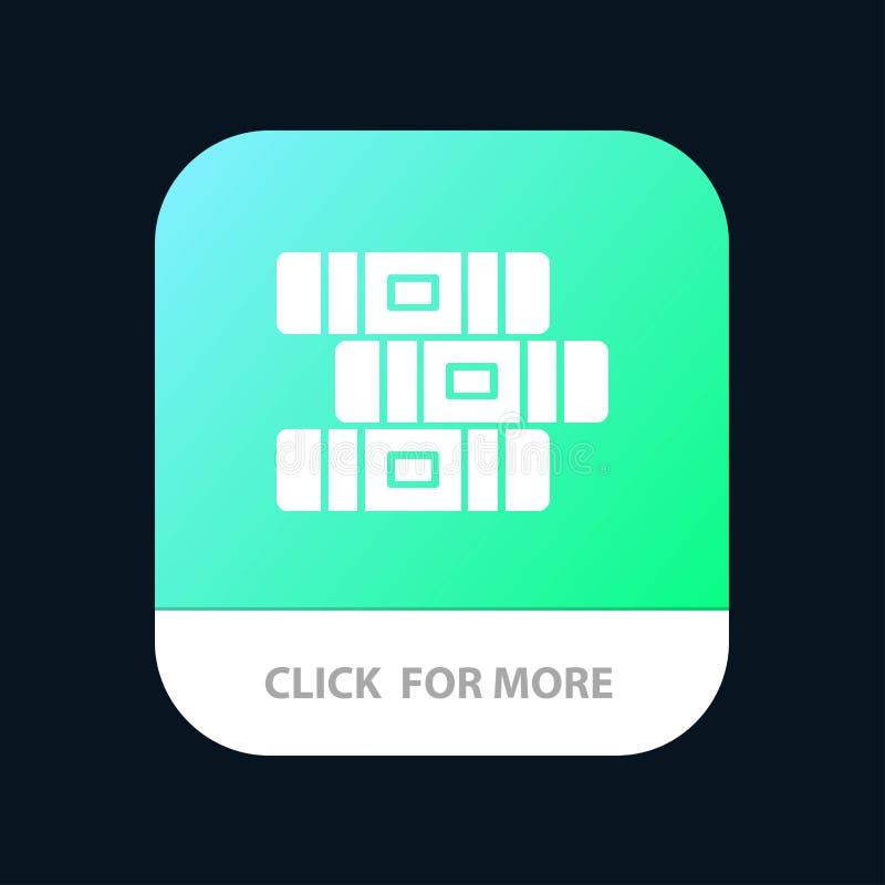 Образование, тетрадь, неподвижная мобильная кнопка приложения Андроид и глиф IOS версия бесплатная иллюстрация