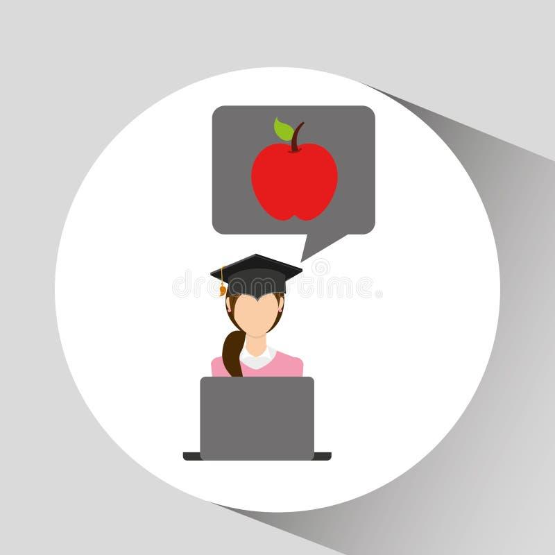Образование яблока градации характера онлайн иллюстрация вектора