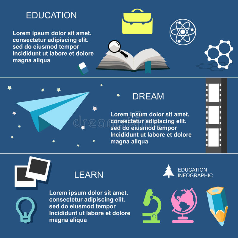 Образование Infographic, плоский дизайн, элементы бесплатная иллюстрация