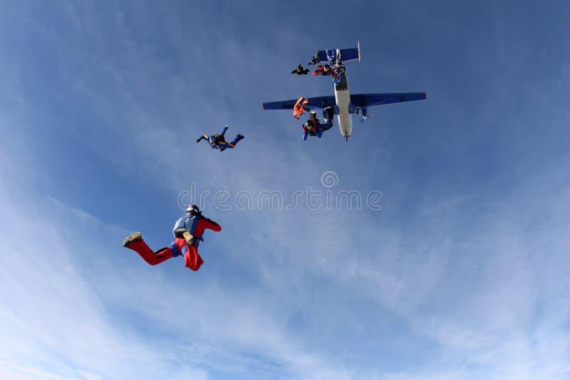 Образование skydiving Skydivers скачут из самолета стоковая фотография rf
