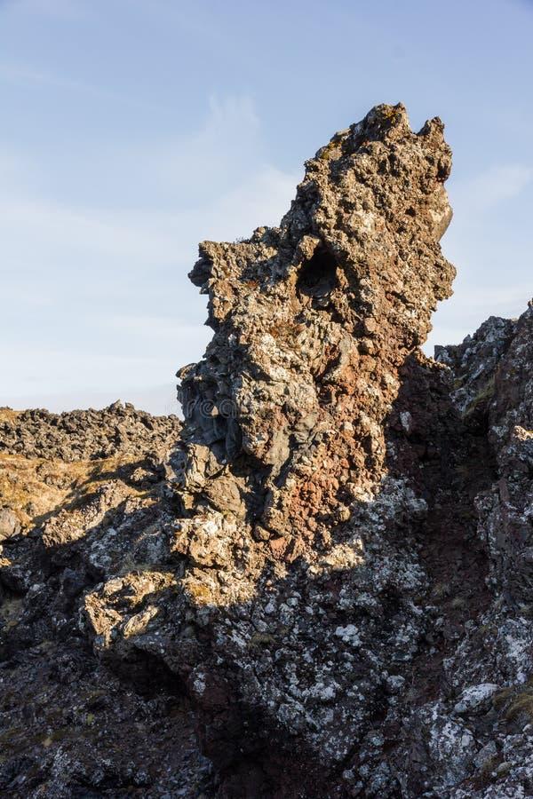 Образование soutwest Исландия тролля головное естественное стоковая фотография