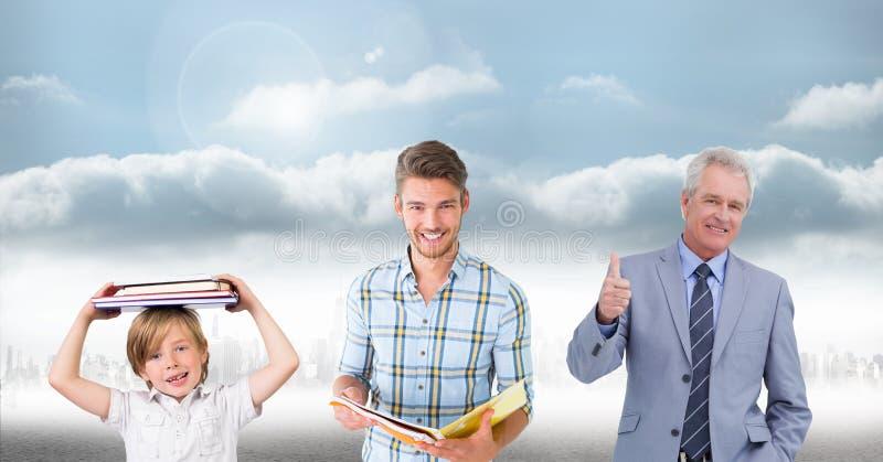 Образованные люди поколений времени растя вверх с небом стоковое фото rf