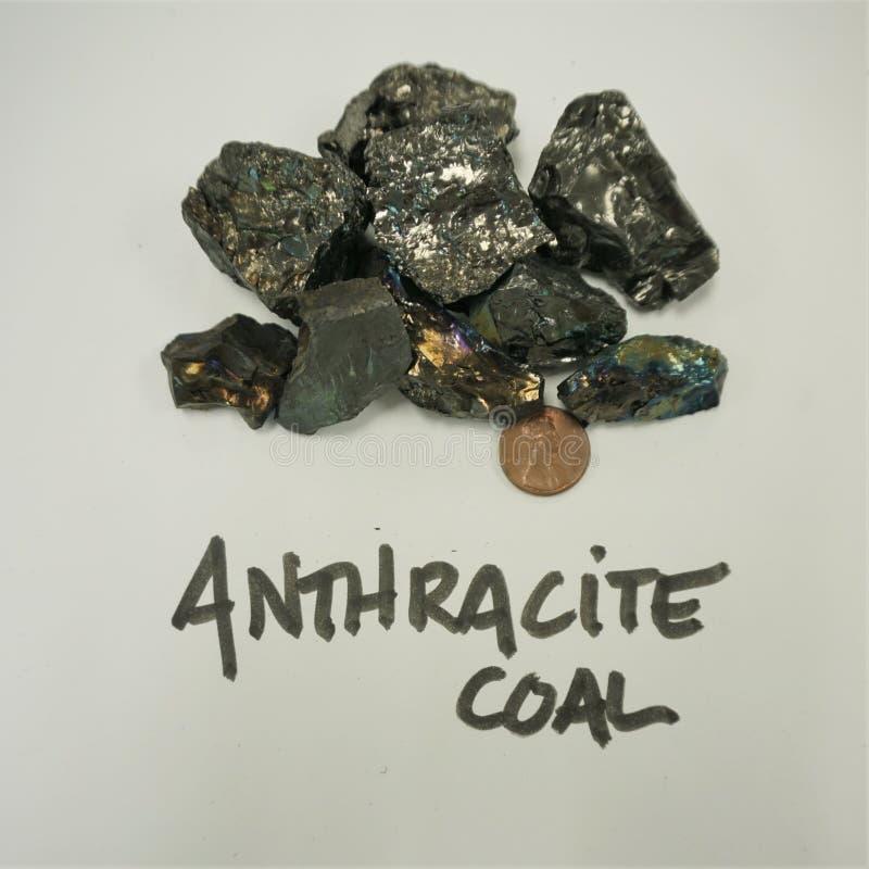 Образцы руки угля антрацита с пенни стоковое изображение