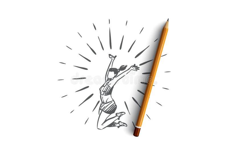 Образ жизни, здоровый, спорт, концепция счастья Вектор нарисованный рукой изолированный бесплатная иллюстрация
