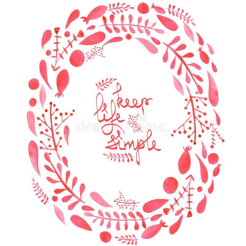 Обрамите границу, венок с листьями конспекта акварели красными и ветви иллюстрация вектора