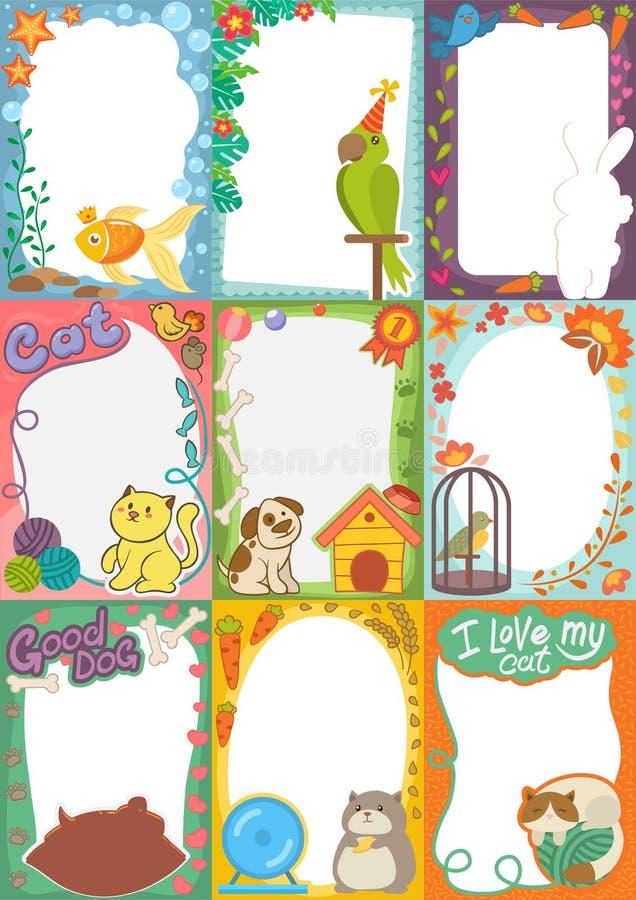 Обрамите изображение вектора фото детей любимчиков или птиц животных шаржа на границе фотографии детей или оягнитесь photoframes бесплатная иллюстрация