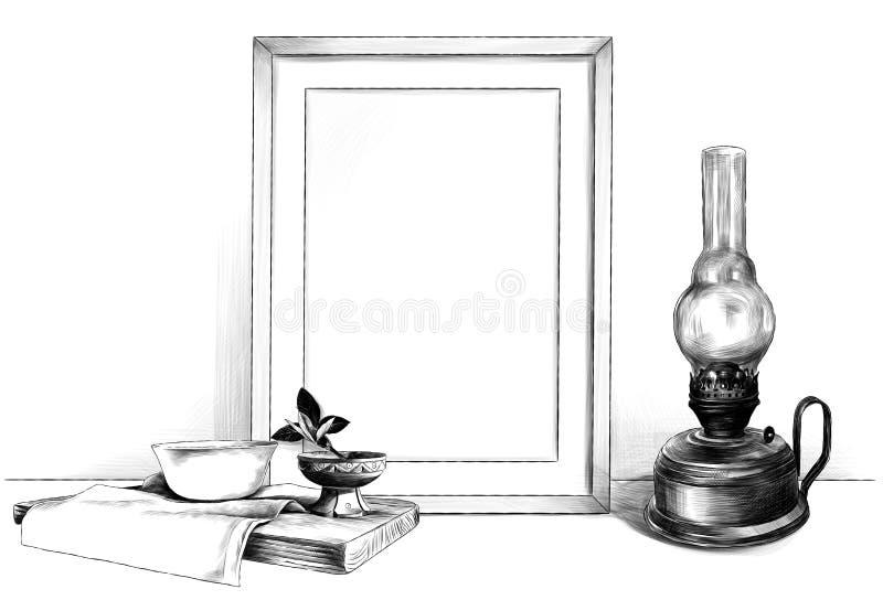 Обрамите положение на таблице рядом с лампой керосина и деревянную стойку с салфеткой на которой стоит поддонник и деревянная чаш иллюстрация штока