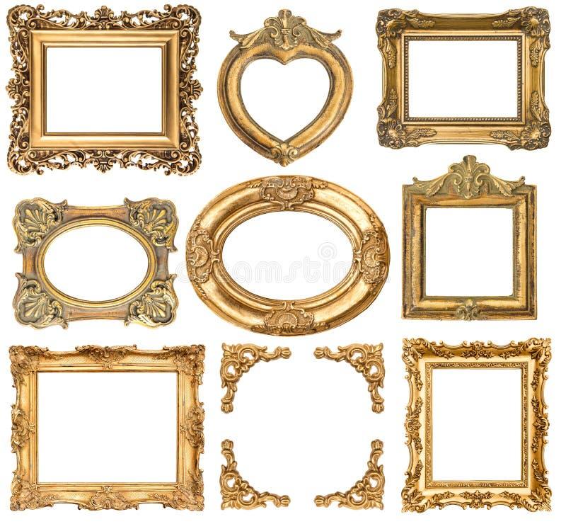 обрамляет золотистое предметы антиквариата стиля барокко стоковое изображение rf