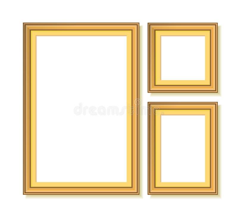 обрамляет золотистый комплект иллюстрация вектора