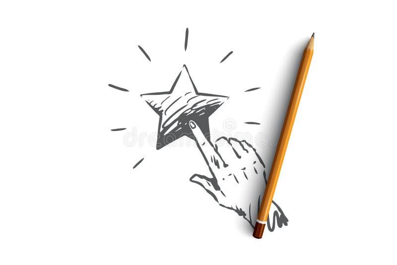 Обратная связь, звезда, обслуживание, качество, концепция метки Вектор нарисованный рукой изолированный иллюстрация штока