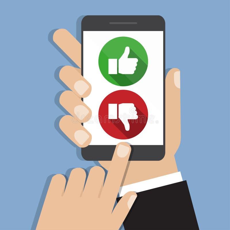 Обратная связь оценки вебсайта и концепция обзора Вручите держать и указывать к smartphone с как и невзлюбите иллюстрация штока