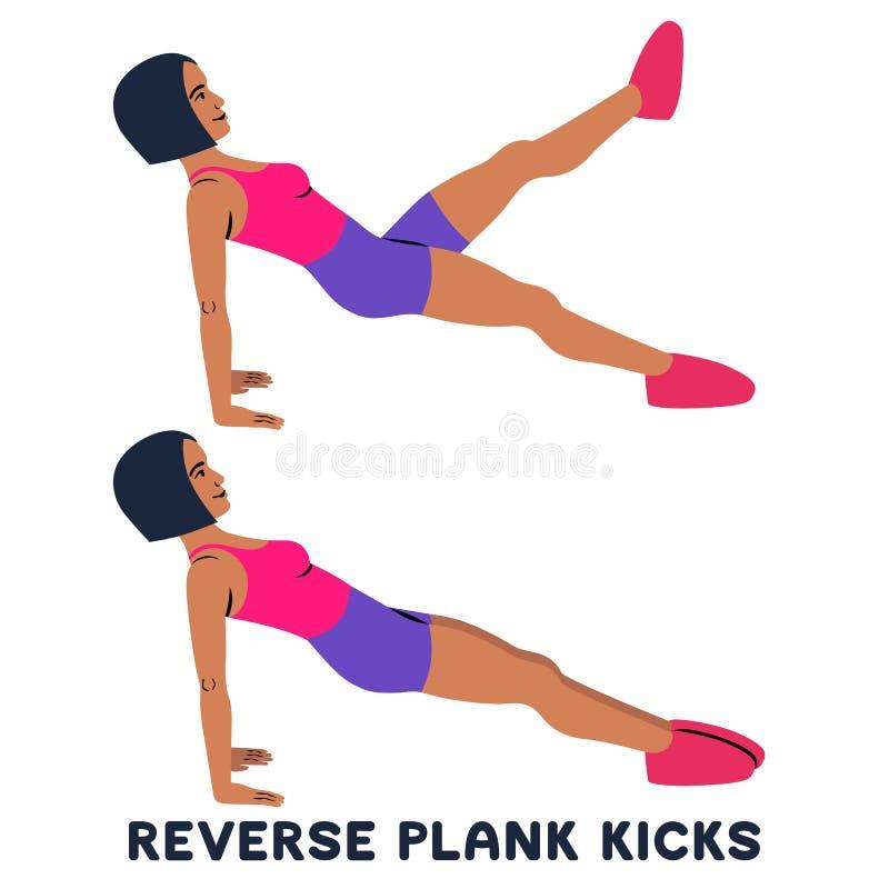 Обратные пинки планки Обратная планка Exersice спорта Силуэты женщины делая тренировку Разминка, тренируя бесплатная иллюстрация