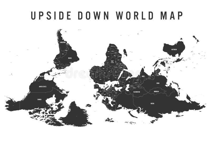 Обращенная или вверх ногами политическая карта мира Ориентация юга-вверх также вектор иллюстрации притяжки corel бесплатная иллюстрация