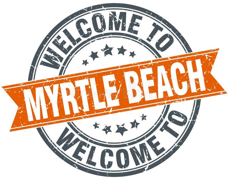 добро пожаловать к штемпелю ленты Myrtle Beach оранжевому иллюстрация штока