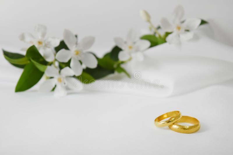Обручальное кольцо золота имеет специальный день На заднем плане цветок нерезкости стоковое фото rf