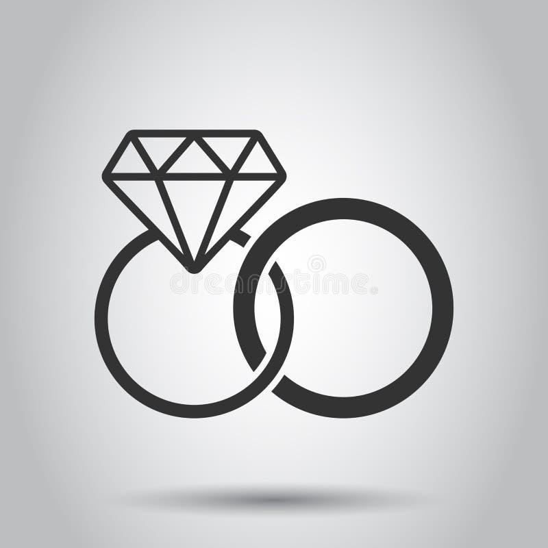 Обручальное кольцо с значком вектора диаманта в плоском стиле Иллюстрация кольца украшений свадьбы на белой предпосылке романско иллюстрация вектора