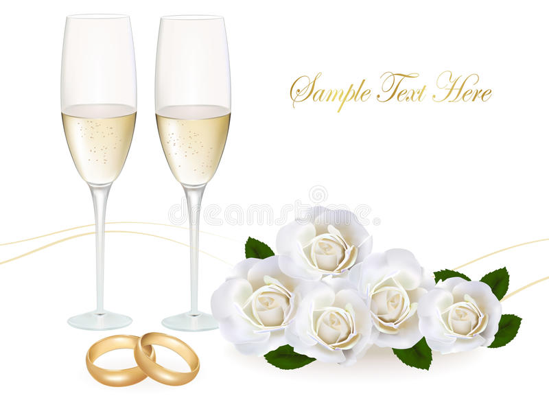 Обручальные кольца, букет роз и шампанское. бесплатная иллюстрация