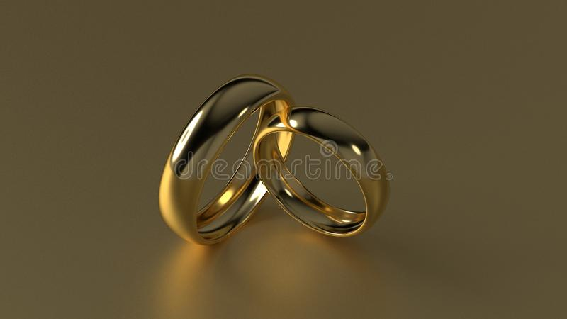 Обручальное кольцо красоты золотое на предпосылке золота перевод 3d стоковое изображение